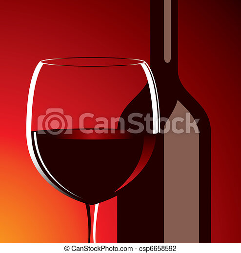 vector wine glass and bottle - csp6658592