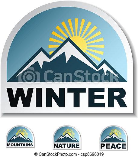 vector winter blue mountain stickers - csp8698019