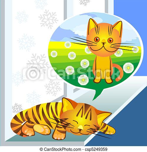 vector, winter dreams ginger cat