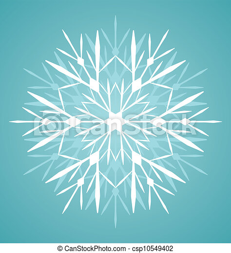 vector winter illustration of detailed snowflake on turquoise  background - csp10549402