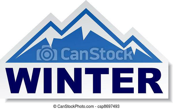 vector winter mountain sticker - csp8697493