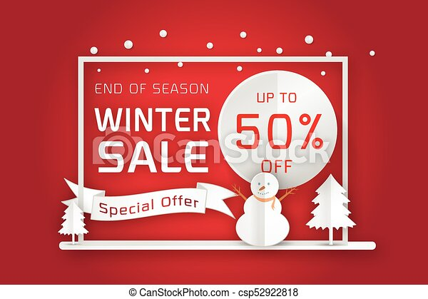 Vector winter sale poster template. smiling snow man in scarf and ...