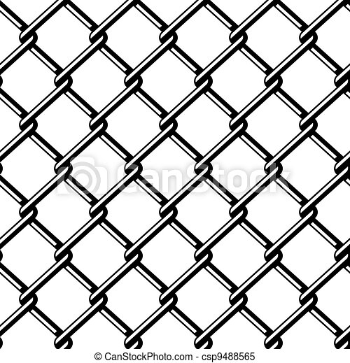 vector wire fence seamless black silhouette - csp9488565