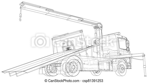 Vector Wire-frame line illustrations of tow trucks. EPS10 format. Vector created of 3d - csp81391253