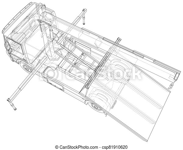 Vector Wire-frame line illustrations of tow trucks. EPS10 format. Vector created of 3d - csp81910620