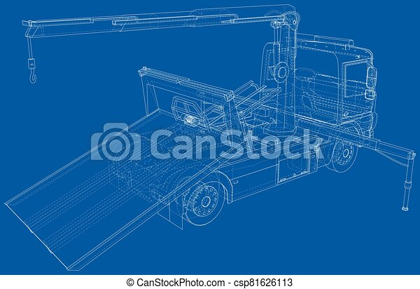 Vector Wire-frame line illustrations of tow trucks. EPS10 format. Vector created of 3d - csp81626113