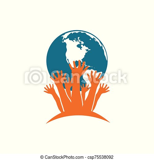 Vector with hands holding Planet Earth. Protection of nature, eco problem - csp75538092