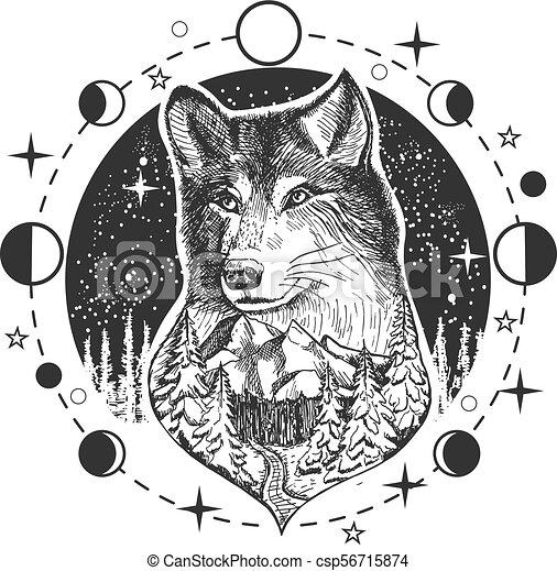 Vector wolf head tattoo or t-shirt print design - csp56715874
