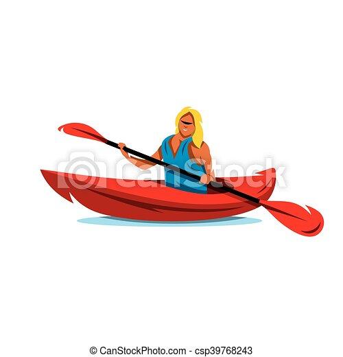 Vector Woman In Canoe Kayaking Cartoon Illustration