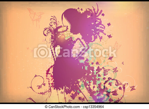 Vector Woman with Butterfly Dress - csp13354964
