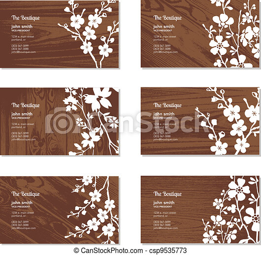 Vector wood and floral business card set all pieces are vector wood and floral business card set reheart Gallery
