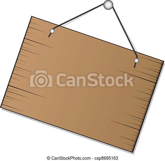 vector wood sign hanging - csp8695163