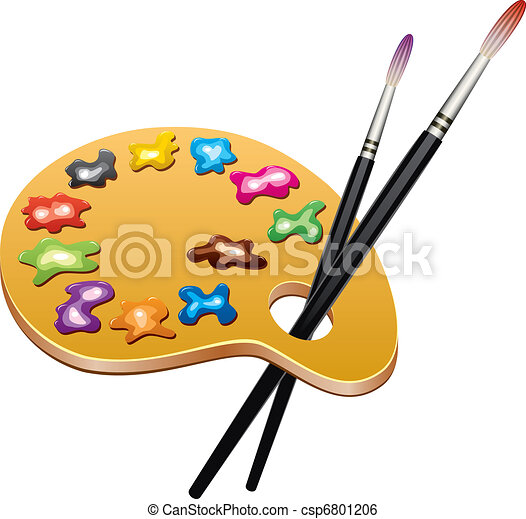 vector wooden art palette with blobs of paint and brushes - csp6801206