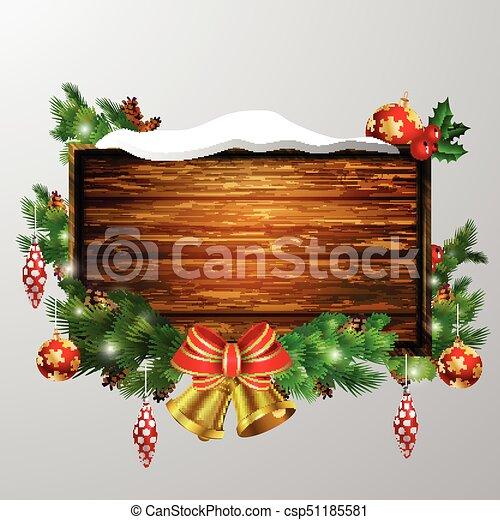 Christmas Board Design.Vector Wooden Christmas Board