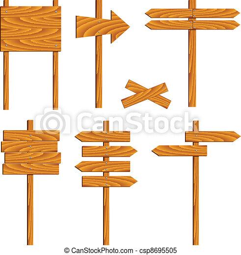 vector wooden signs - csp8695505