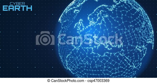 Spherical World Map.Vector World Map Construted Of Numbers And Lines Abstract Globe
