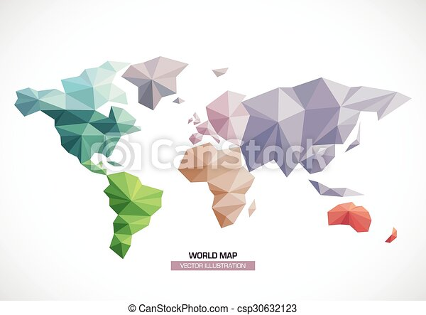 Vector world map design triangle pattern continents with different vector world map design triangle pattern continents with different colors gumiabroncs Image collections