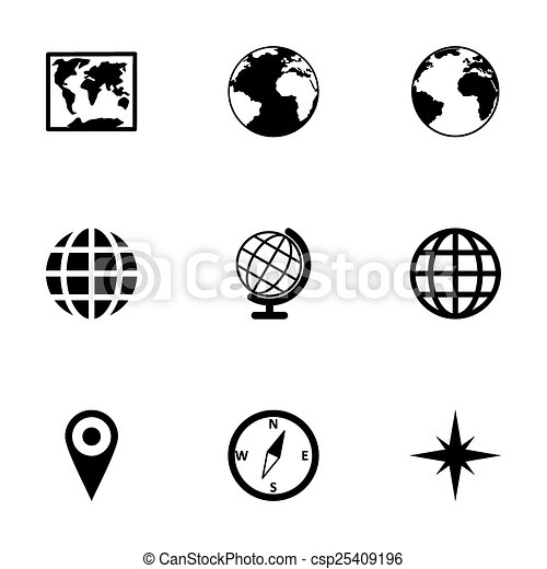 Vector world map icon set on white background vector world map icon set gumiabroncs Gallery