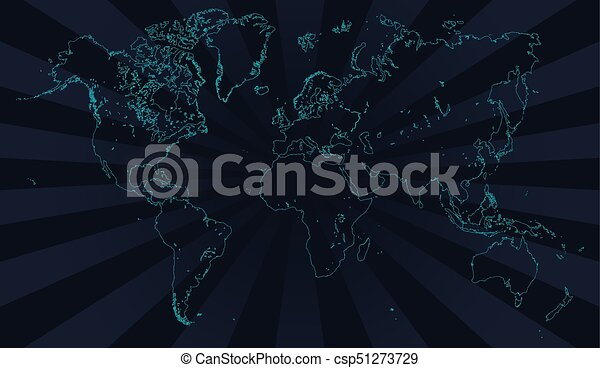 Contour Line Drawing Map : Vector world map neon contour deep blue background