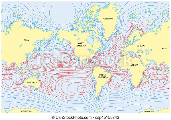 World Map With Currents.Vector World Map Of All Sea Currents