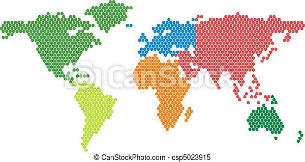 Vector world map with colored continents clipart vector search vector world map with colored conti gumiabroncs Images
