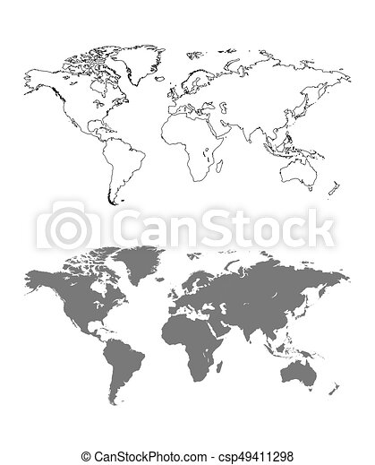 Vector World Map With Outline