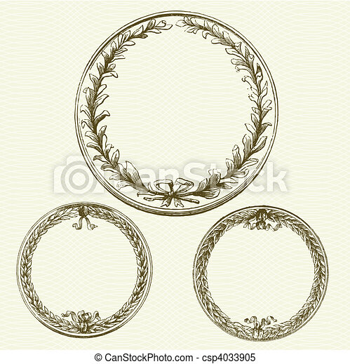 Vector Wreaths with Background Pattern - csp4033905