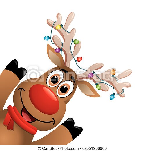 Vector xmas drawing of funny red nosed reindeer. christmas ...