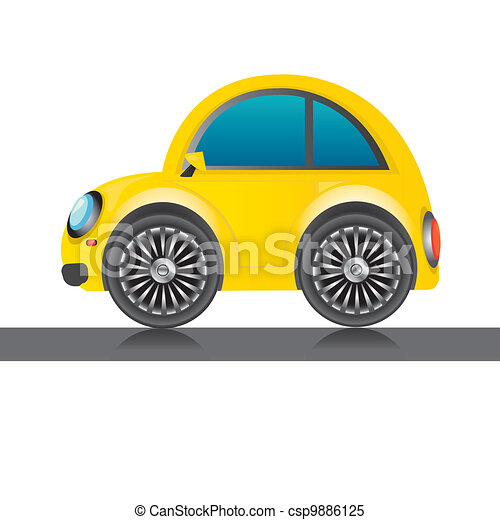 Vector Yellow Glossy Car Icon Toy Car Kids Background