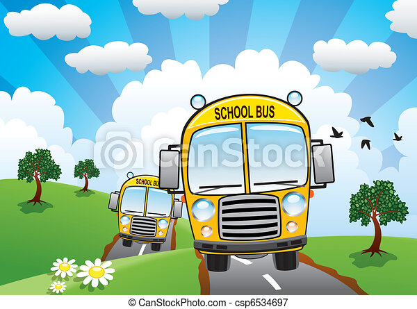 vector yellow school buses on a country road  - csp6534697