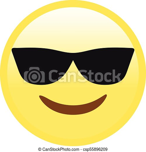 Vector yellow smiley face with black sunglasses flat icon - csp55896209
