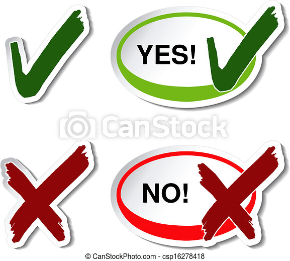 Vector Yes No Button Check Mark Symbol Illustration