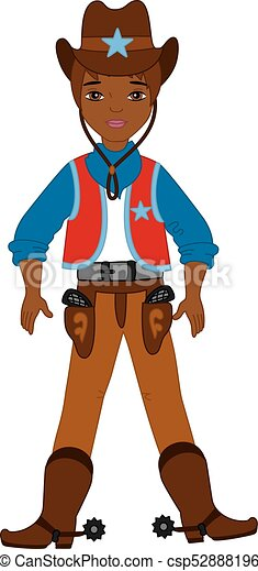 vector young african american cowboy standing western eps rh canstockphoto com african american clip art pictures african american clipart religious