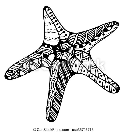 vector zentangle starfish starfish zentangle vector illustration