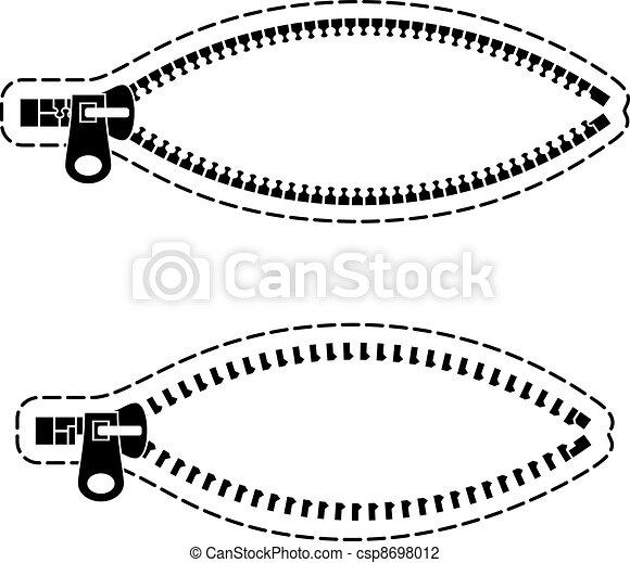 vector zipper black symbols - csp8698012