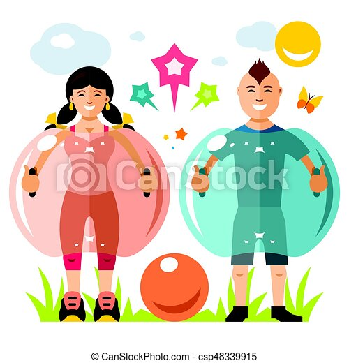 Vector Zorbing soccer. Bumper Ball sign. Two inflatable Zorb. Outdoor Sport game. Flat style colorful Cartoon illustration. - csp48339915