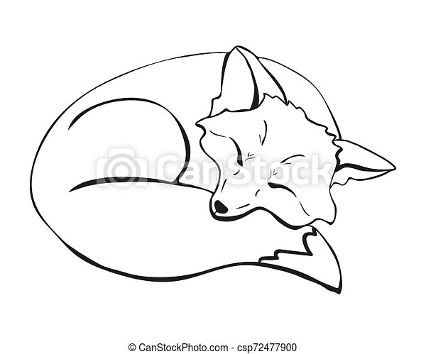 La ilustración del zorro durmiente - csp72477900
