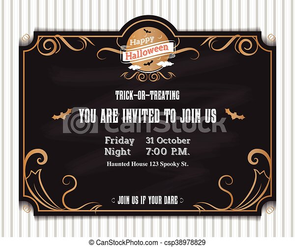 Vectorhalloween Invitation Card To Party With Vintage Ornament Frame Style On Black Backgroundholiday Template