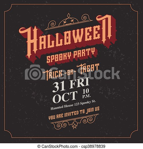 Vector Halloween Spooky Party Invitation Card With Vintage Ornament Frame Style On Black Background Holiday Card Template