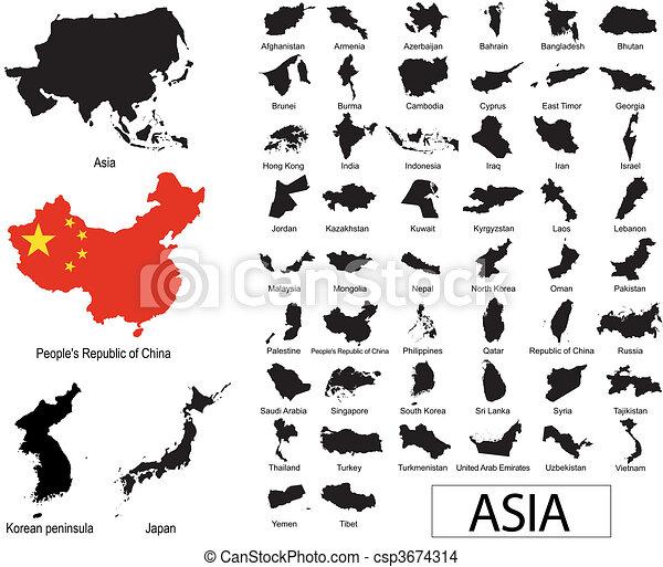 vectors, ázsiai, országok - csp3674314