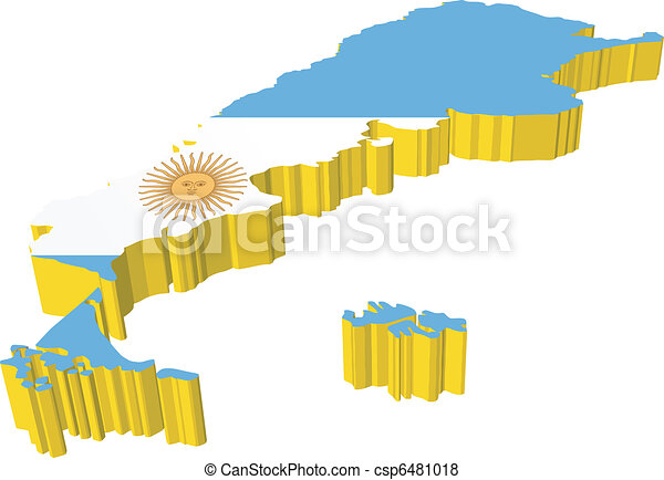 Vector Of Vectors D Map Of Argentina On A White Background - Argentina 3d map