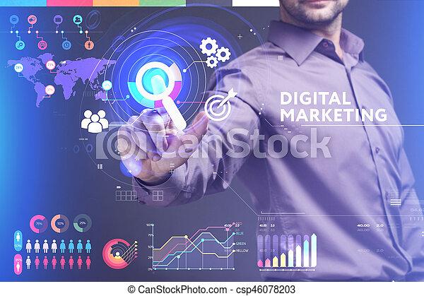 vede, rete, lavorativo, inscription:, marketing, concept., internet, giovane, virtuale, affari, futuro, digitale, uomo affari, schermo, tecnologia - csp46078203