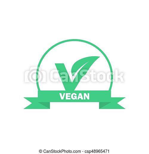 Vegan label  Vegetarian green food icon  Vector sticker