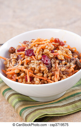 Vegan Salad - Wheat Berry Salad with Cranberries and Nuts - csp3719575