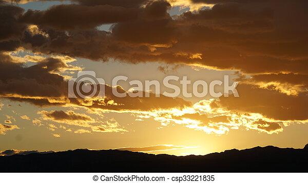 vegas, coucher soleil, las - csp33221835