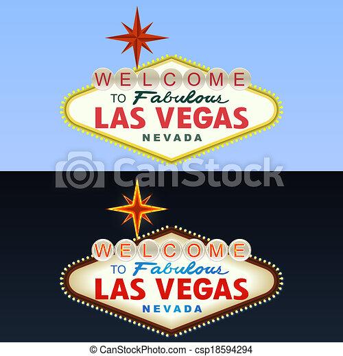El cartel de Las Vegas. Día y noche. Vector - csp18594294