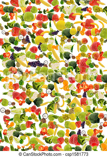 vegetable and fruit background - csp1581773