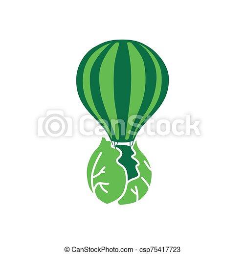 vegetable balloon food vegan restaurant logo - csp75417723