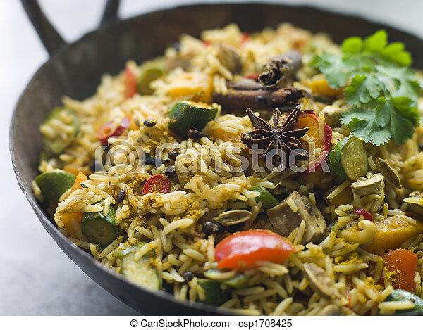Vegetable Biryani in a Large Karahi - csp1708425