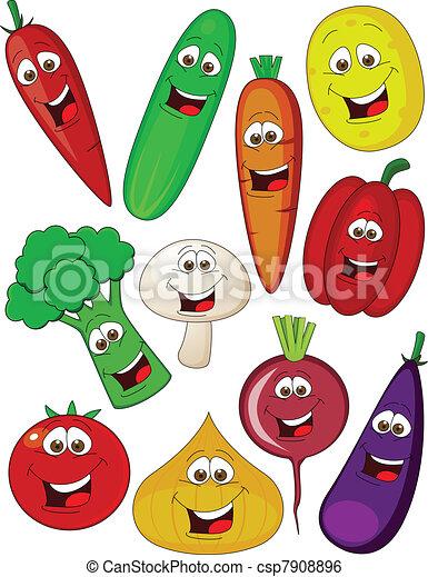 Vegetable cartoon character - csp7908896